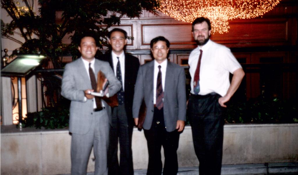 Outside a skylark restaurant in Tokyo with the Skylark team 1991